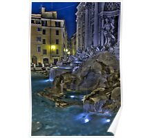 Trevi Fountain from an isolated corner in the night, Rome Poster