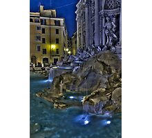 Trevi Fountain from an isolated corner in the night, Rome Photographic Print