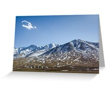 Beautiful snowy Tibetan high mountain landscape with the lonely cloud Greeting Card