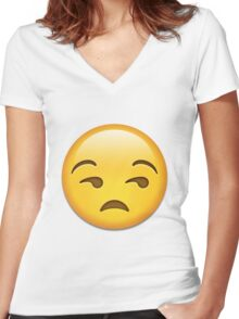 Unamused Emoji Collection Women's Fitted V-Neck T-Shirt