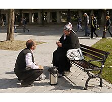 People in Istanbul - The Turkish tea seller and the Uzbek lady Photographic Print