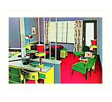 Retro Hotel Room Art Print