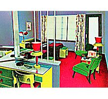 Retro Hotel Room Photographic Print
