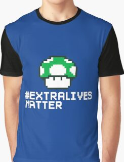 #Extra Lives Matter | Geek Gamer 1Up Mushroom with Slogan Graphic T-Shirt