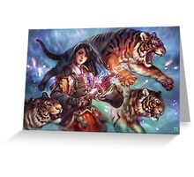 Female Samurai with tigers Greeting Card
