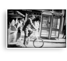 Man on rickshaw oxford street London Canvas Print