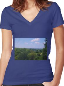 The South Hams in Spring Women's Fitted V-Neck T-Shirt
