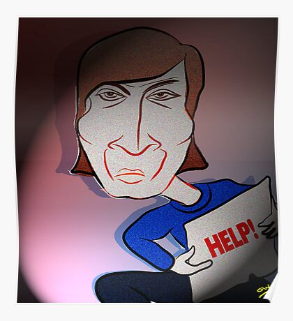 John Lennon Digital Cartoon Caricature Poster