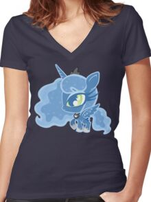 Weeny My Little Pony- Princess Luna Women's Fitted V-Neck T-Shirt