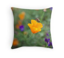 Californian poppy with a bee! Throw Pillow