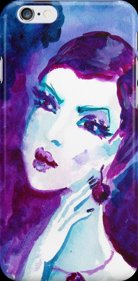 watercolour portrait iPhone case by Anastasiia Kucherenko