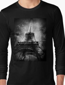 Eiffel Tower, Starry Night, Black and White Long Sleeve T-Shirt