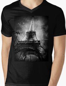 Eiffel Tower, Starry Night, Black and White Mens V-Neck T-Shirt