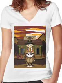 Cute Cowboy Sheriff on Horse at Jailhouse Women's Fitted V-Neck T-Shirt