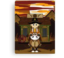 Cute Cowboy Sheriff on Horse at Jailhouse Canvas Print