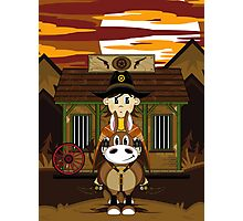 Cute Cowboy Sheriff on Horse at Jailhouse Photographic Print