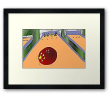 Chinese bowling ball heads for USD JPY EUR and GBP Framed Print