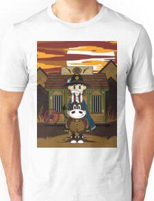 Cute Cowboy Sheriff on Horse at Jailhouse Unisex T-Shirt