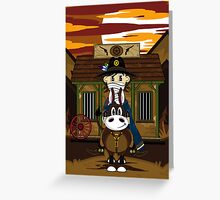 Cute Cowboy Sheriff on Horse at Jailhouse Greeting Card
