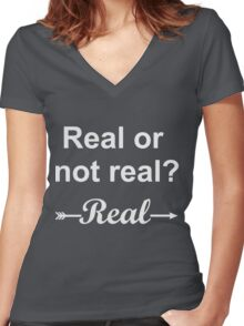 Hunger Games Real or Not Real 2 Women's Fitted V-Neck T-Shirt
