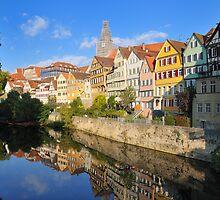 Beautiful Tuebingen Germany - Neckar waterfront by mhfoto
