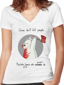 guns don't kill people - blood Women's Fitted V-Neck T-Shirt