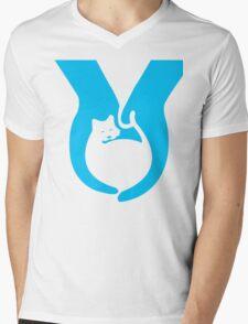 Blue Cat Helping Hands Mens V-Neck T-Shirt