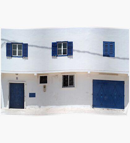 blue doors, blue windows, white walls Poster