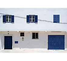 blue doors, blue windows, white walls Photographic Print