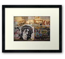 viktor tsoi street art in moscow Framed Print