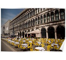 yellow chairs in venice Poster