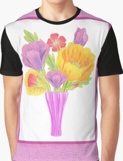 Flowers In The Vase On Baby Pink Graphic T-Shirt