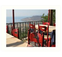 A table with a view - Lesvos Art Print