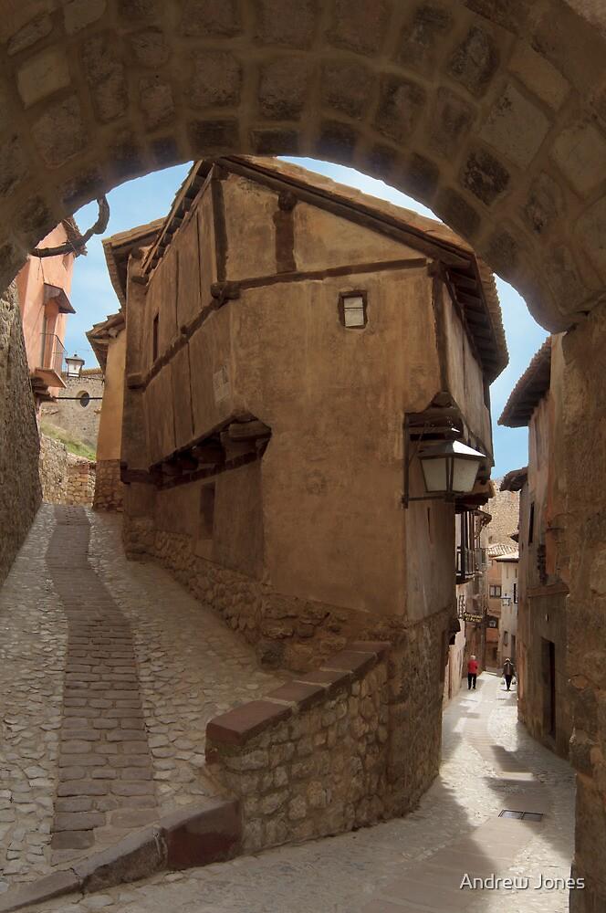 Narrow streets and archways of Albarracin, Aragon, Spain by Andrew Jones