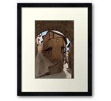 Narrow streets and archways of Albarracin, Aragon, Spain Framed Print