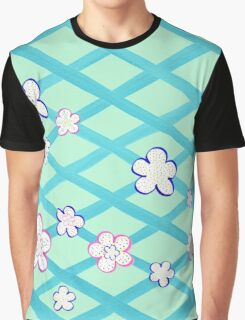Baby Blue Flower Garden Graphic T-Shirt
