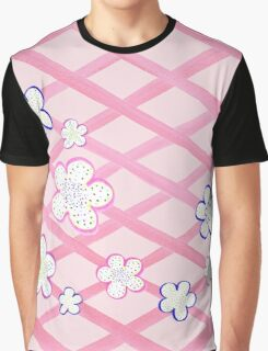 Baby Pink Garden Flowers Graphic T-Shirt