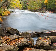Huge boulders and colorful fall forest on a riverside by Sergey Orlov