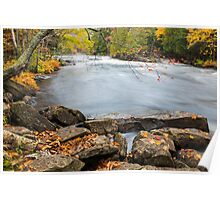 Huge boulders and colorful fall forest on a riverside Poster