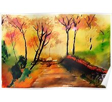 Autumn on the path, watercolor Poster