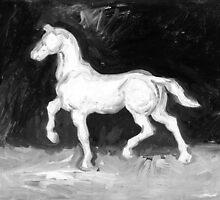 Vincent Van Gogh - The Horse (Black and White) by lifetree