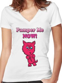 Pink Angry Kitty Women's Fitted V-Neck T-Shirt