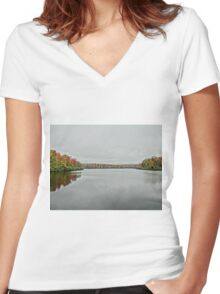 Blue ridge parkway Women's Fitted V-Neck T-Shirt