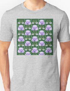 Purple Flowers Lace On Green Field Pattern T-Shirt