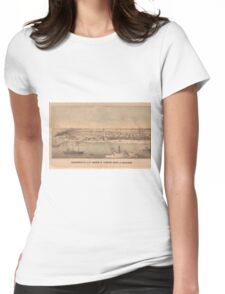 Vintage Pictorial Map of Newport News VA (1862) Womens Fitted T-Shirt