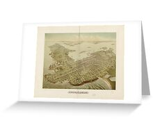 Vintage Pictorial Map of Newport RI (1878) Greeting Card