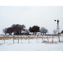 Snowy Country Farm House Photographic Print