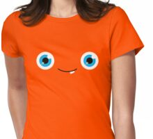 Happy Monster Googly Blue Eyes Womens Fitted T-Shirt