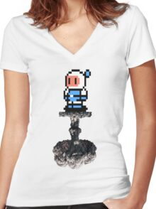 Bomber Boom Women's Fitted V-Neck T-Shirt