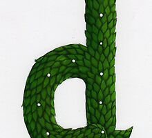 "Topiary Alphabet ""d"" Coloured by Donna Huntriss"
